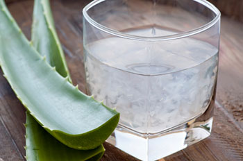 Aloe vera plant stems and juice