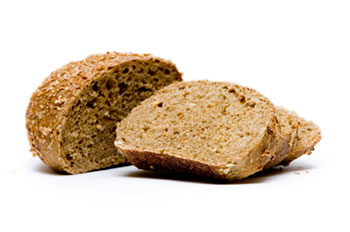 slices of whole grain bread, a good source of fiber