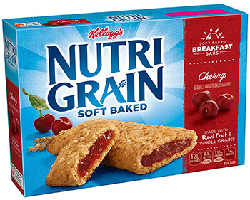 a box of Nutri-Grain soft baked breakfast bars, cherry variety
