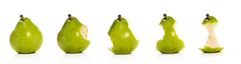 a row of 5 pears with successively more bites taken out of each one: the last pear on the right is eaten down to the core