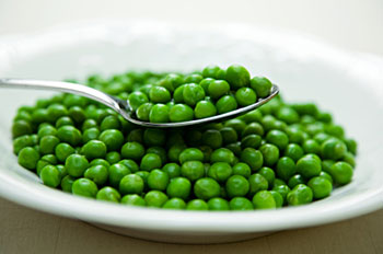 green peas in a spoon
