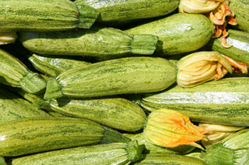 a pile of various sizes of fresh zucchini, some with flowers still attached to them