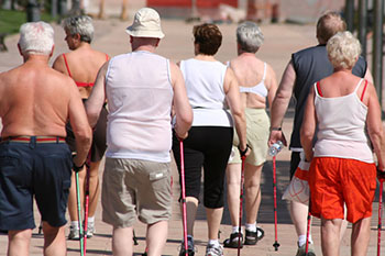 a group of senior citizens walking for exercise