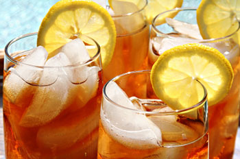 glasses of iced tea garnished with lemon slices