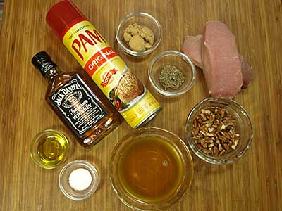 Ingredients for Pork Chops with Bourbon Pecan Sauce