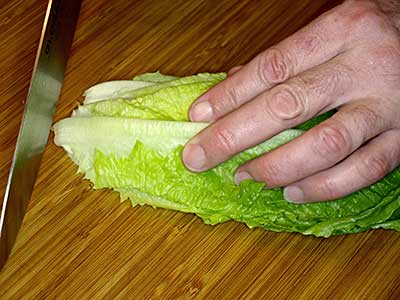 Stack the lettuce leaves