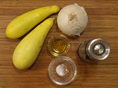 Ingredients for yellow squash and onions