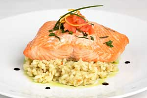 Salmon with Lemon Basil Risotto