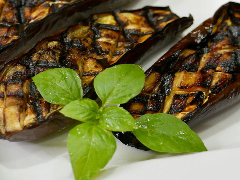 Asian Glazed Roasted Eggplant recipe from Dr. Gourmet