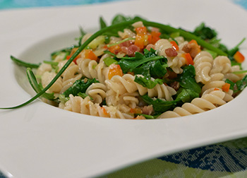 Fusilli with Bacon and Arugula recipe from Dr. Gourmet
