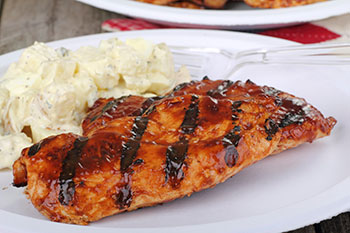 Grilled Chicken with Bourbon Glaze recipe from Dr. Gourmet