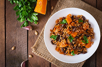 a beans and rice dish with butternut squash