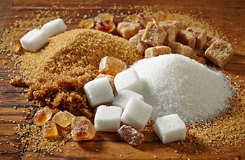 brown and white sugars in both crystallized and pourable forms