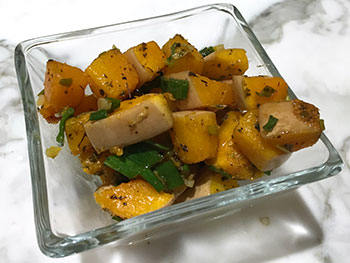 Roasted Butternut Squash with Green Onions recipe from Dr. Gourmet