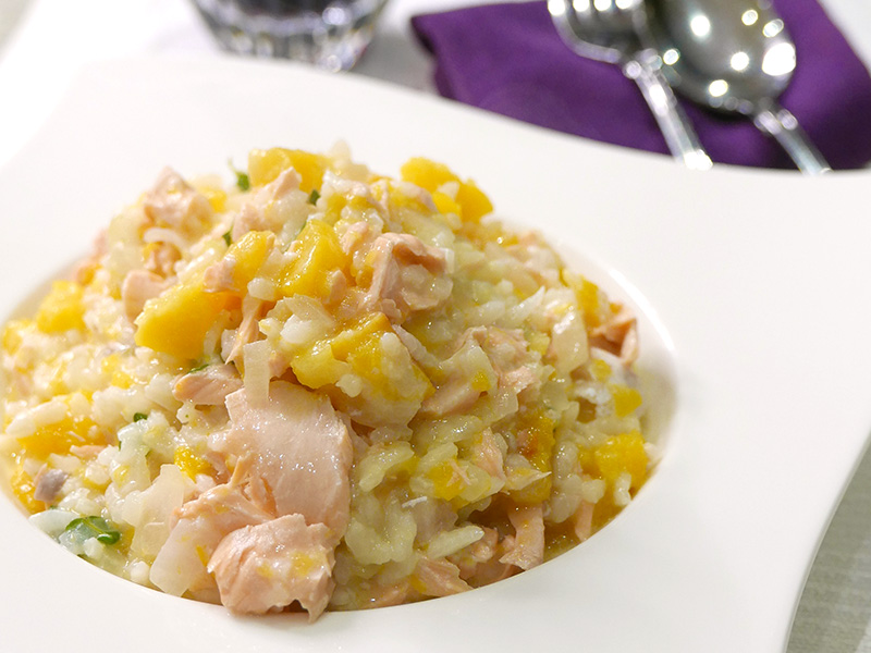Salmon and Butternut Squash Risotto recipe from Dr. Gourmet