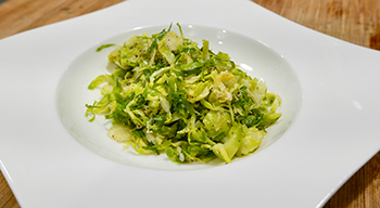 Cacio e Pepe Brussels Sprouts recipe from Dr. Gourmet