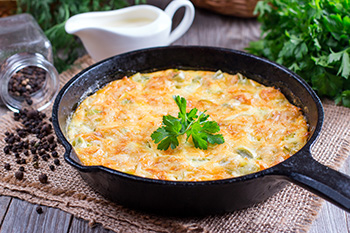 a frittata made in an iron skillet