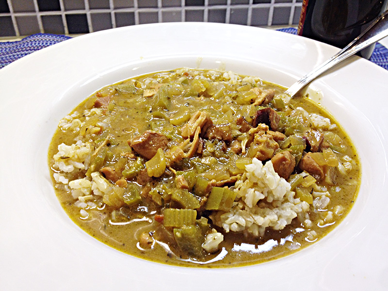 Chicken and Andouille Gumbo recipe from Dr. Gourmet