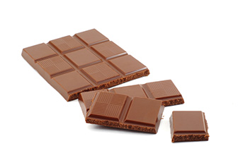 a chocolate bar on a white background