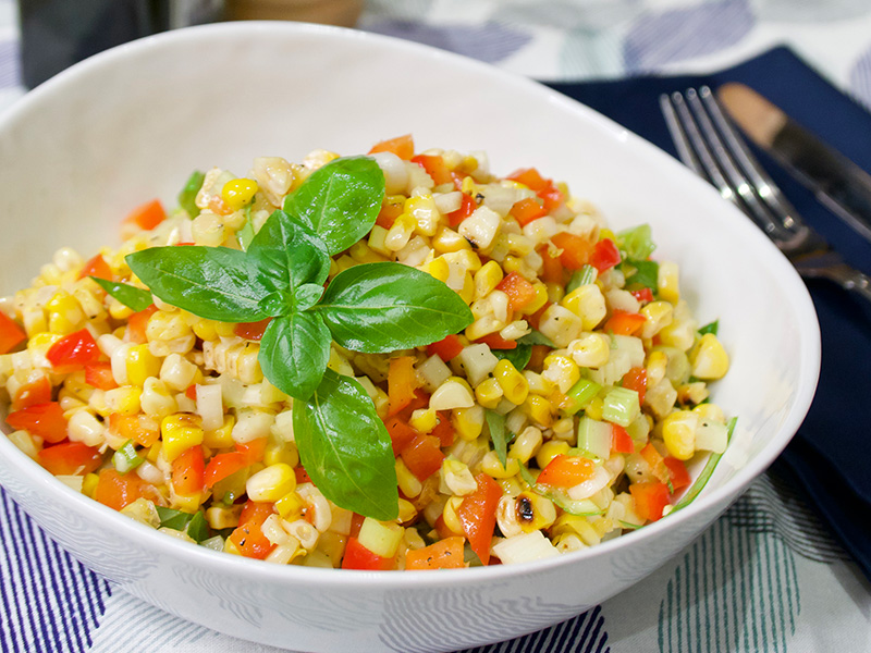 Confetti Corn Salad, an easy healthy side dish recipe from Dr. Gourmet