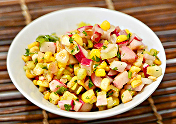 Corn and Radish Salad recipe from Dr. Gourmet