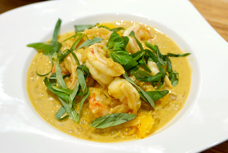 Curried Shrimp with Spaghetti Squash from Dr. Gourmet