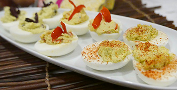 three variations on deviled eggs