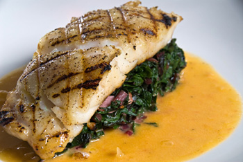 Grouper on a bed of spinach