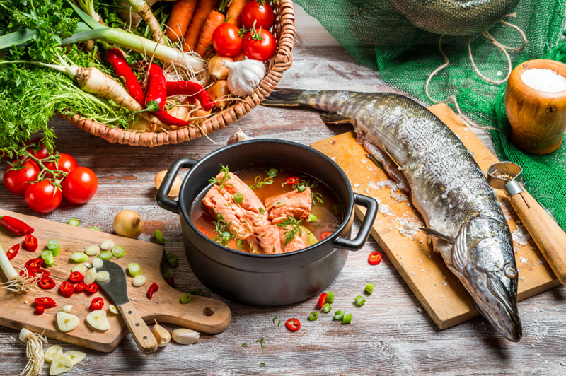 ingredients for a Mediterranean-style fish soup