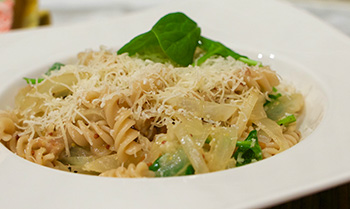 Fusilli with Sausage and Spinach recipe from Dr. Gourmet
