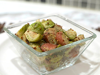German Potato Salad with Brussels Sprouts recipe from Dr. Gourmet