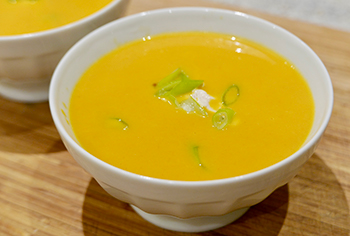 Ginger Carrot Soup with Spiced Yogurt recipe from Dr. Gourmet