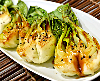 Grilled Bok Choy, an easy side dish recipe from Dr. Gourmet