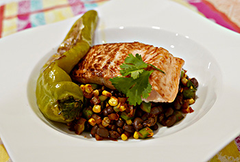 Easy, healthy recipe for Salmon with Roasted Hatch Chilis, Corn, and Black Beans, from Dr. Gourmet