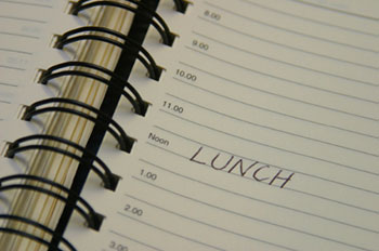 a daily planner with 'lunch' written on it