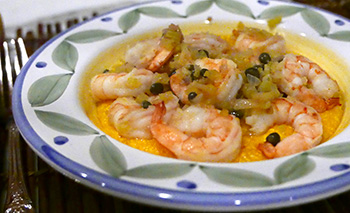 Saffron Grits with Mediterranean Shrimp recipe by Dr. Gourmet