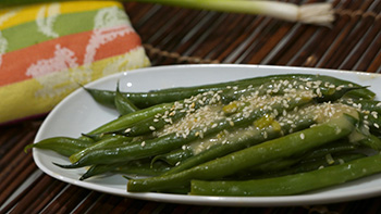 Green Beans with Miso Butter recipe from Dr. Gourmet