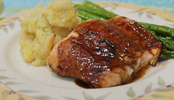 Spicy Molasses Glazed Salmon recipe from Dr. Gourmet