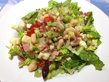 Muffaletta Chopped Salad recipe from Dr. Gourmet