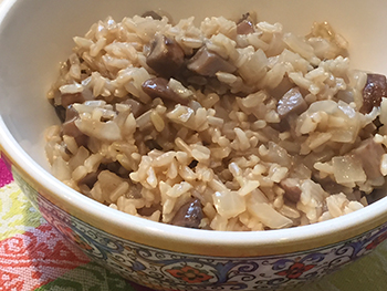 Mushroom Rice - Healthy Rice-A-Roni Recipe from Dr. Gourmet