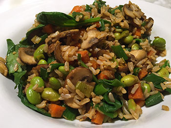 Mushroom Spinach Fried Rice recipe by Dr. Gourmet