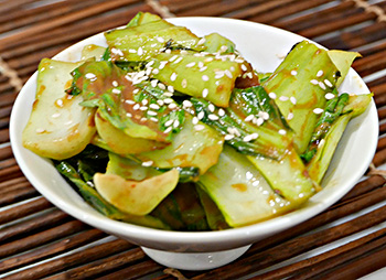 A quick and easy recipe for Spicy Mustard Bok Choy from chef and physician Tim Harlan