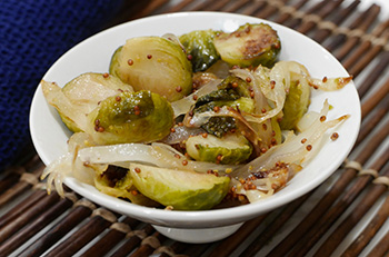 Roasted Brussels Sprouts with Honey Mustard Sauce recipe from Dr. Gourmet
