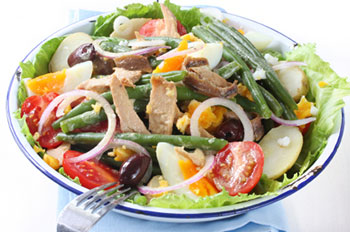 a tossed nicoise salad