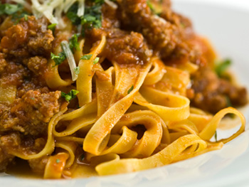 whole wheat pasta with a bolognese (meat) sauce