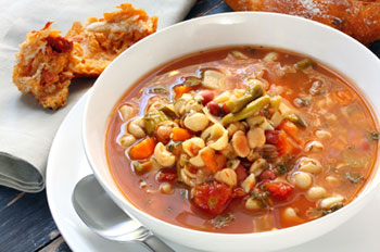 a bowl of pasta fagioli with chicken