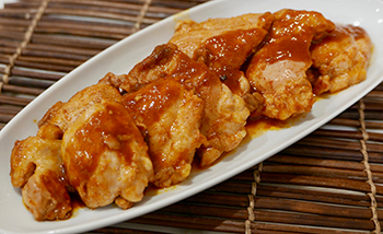 Spicy Peach Barbecued Chicken recipe from Dr. Gourmet