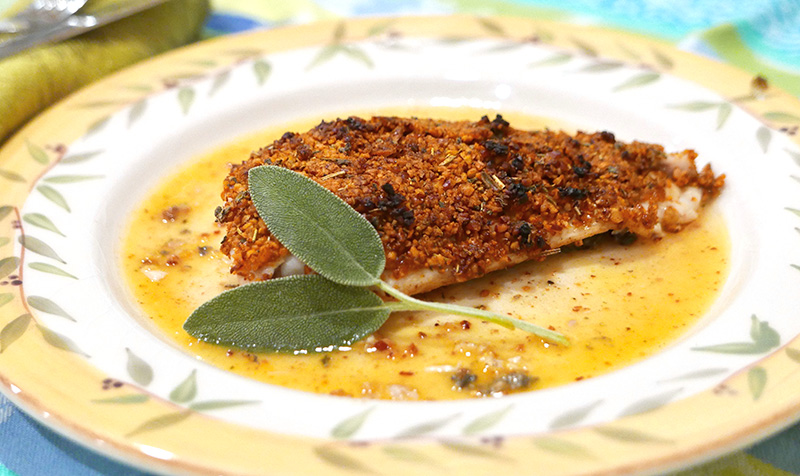 GERD-safe Pecan Crusted Trout recipe from Dr. Gourmet
