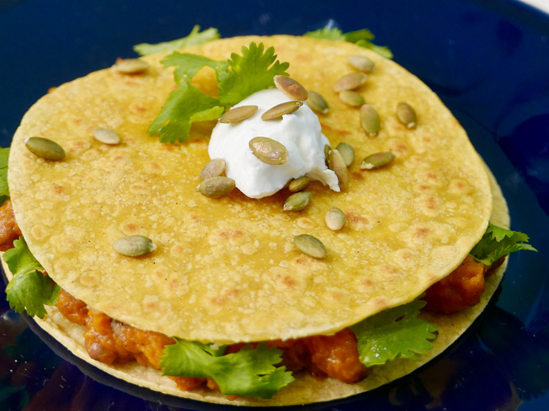 Pinto Bean and Butternut Squash Quesadilla recipe from Dr. Gourmet