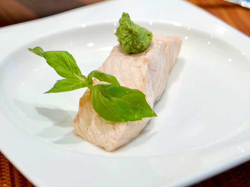 Poached salmon recipe and how-to video from Dr. Gourmet